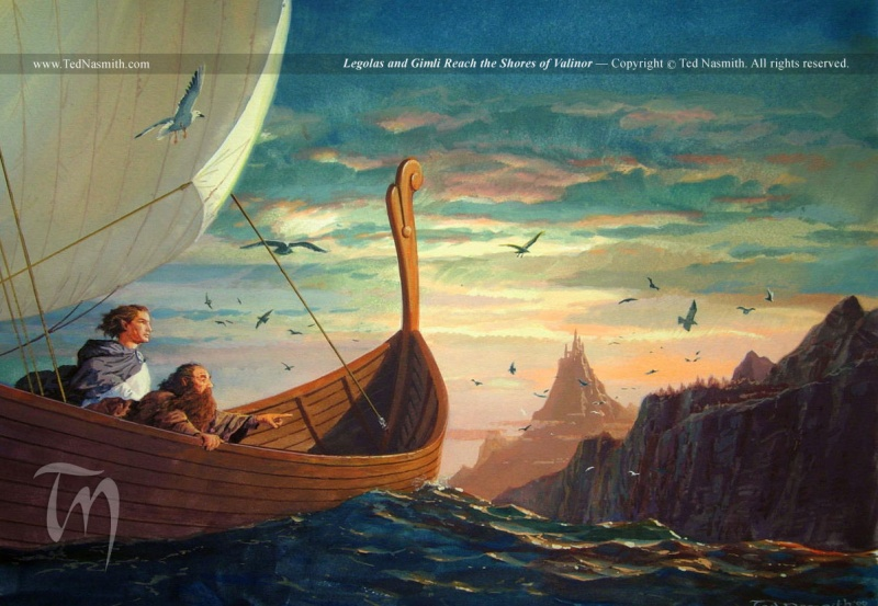 Archivo:Ted Nasmith - Legolas and Gimli Reach the Shores of Valinor.jpg